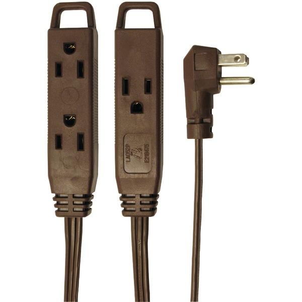 3 OUT 8FT EXT CORD BROWN-