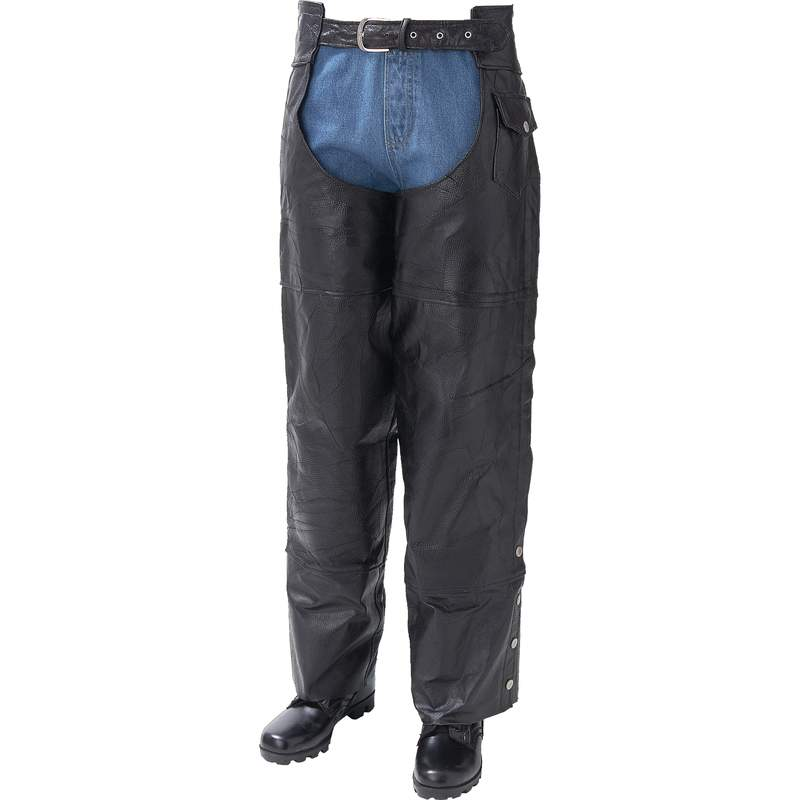 LEATHER MOTORCYCLE CHAPS- XL