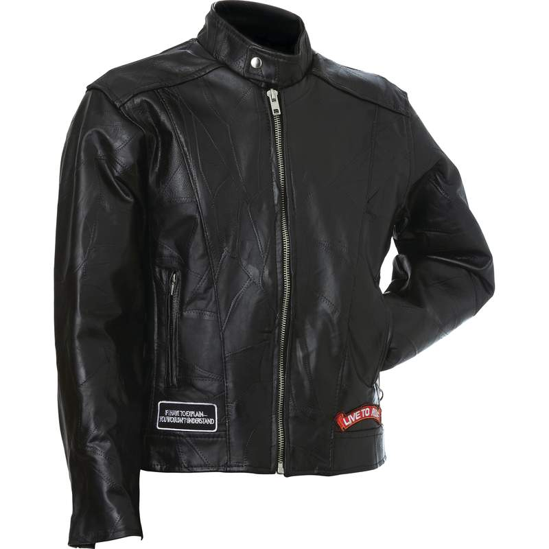 LEATHER MOTORCYCLE JACKET- M