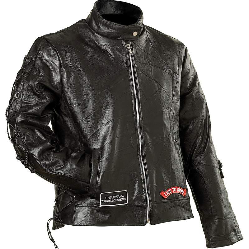LADIES LEATHER MOTO JACKET- M