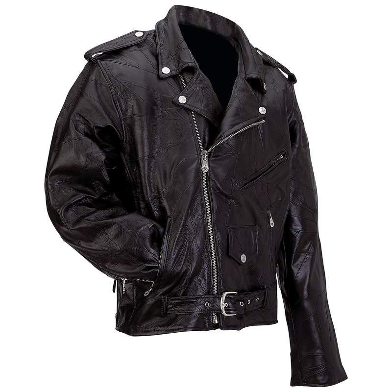 ROCK  LEATHER MOTO JACKET-L