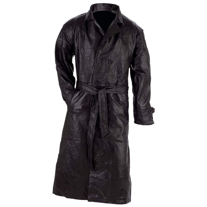 LEATHER TRENCH COAT - M