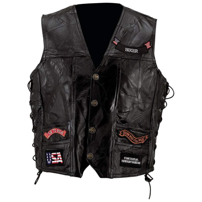 LEATHER VEST W/ 14 PATCHES-3X