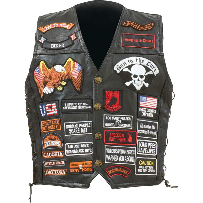 BUF LTH VEST W/42 PATCHES - XL