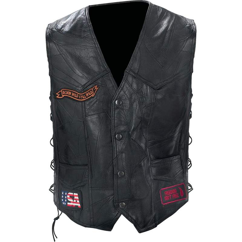 ROCK  LEATHER BIKE VEST-XL