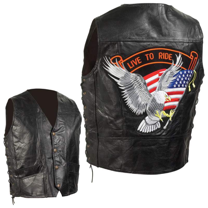 GRAIN LEATHER BIKER VEST-L