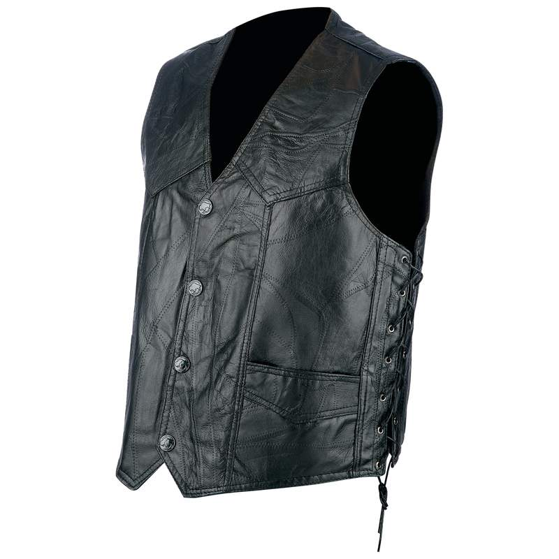 ROCK LEATHER BIKER VEST- L