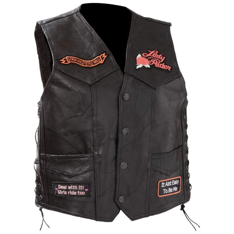 ROCK  LEATHER LADIES VEST-M