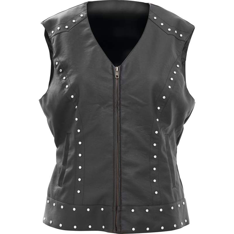 WOMANS FAUX LTHR STUDDED VEST