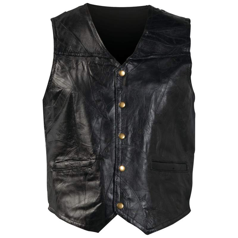 STONE LEATHER VEST- LARGE