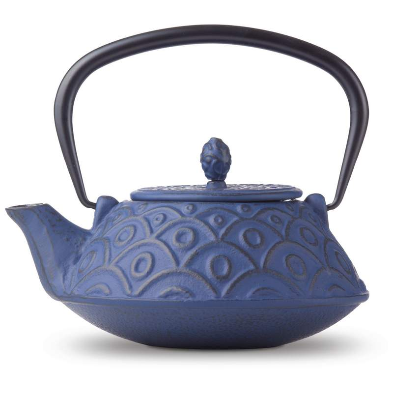 BLUE CAST IRON TEA  POT
