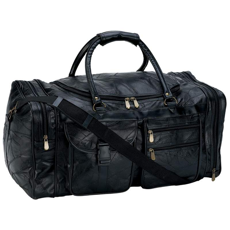 "25"" LEATHER COWHIDE DUFFLE BG"