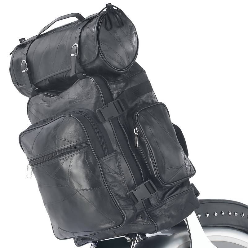 3PC LEATHER MOTORCYCLE BAG SET