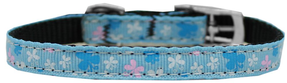 "Butterfly Nylon Dog Collar with classic buckle 3/8"" Blue Size 14"