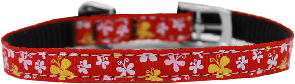 "Butterfly Nylon Dog Collar with classic buckle 3/8"" Red Size 16"