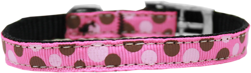 "Confetti Dots Nylon Dog Collar with classic buckle 3/8"" Bright Pink Size 8"