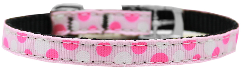 "Confetti Dots Nylon Dog Collar with classic buckle 3/8"" Light Pink Size 8"