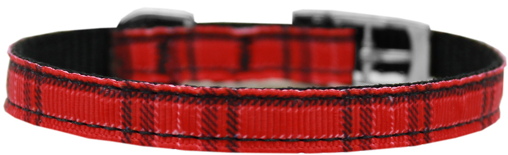 "Plaid Nylon Dog Collar with classic buckle 3/8"" Red Size 14"