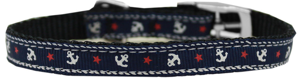 "Anchors Nylon Dog Collar with classic buckle 3/8"" Blue Size 10"