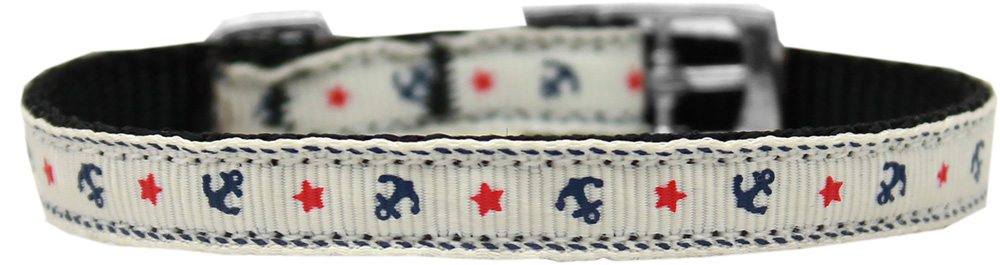 "Anchors Nylon Dog Collar with classic buckle 3/8"" White Size 8"