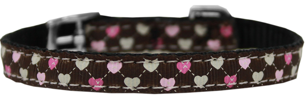 "Argyle Hearts Nylon Dog Collar with classic buckle 3/8"" Brown Size 16"