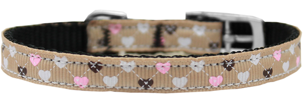 "Argyle Hearts Nylon Dog Collar with classic buckle 3/8"" Tan Size 16"