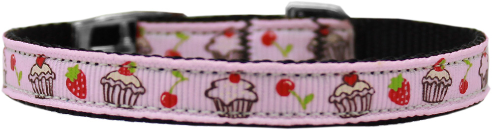 "Cupcakes Nylon Dog Collar with classic buckle 3/8"" Pink Size 14"