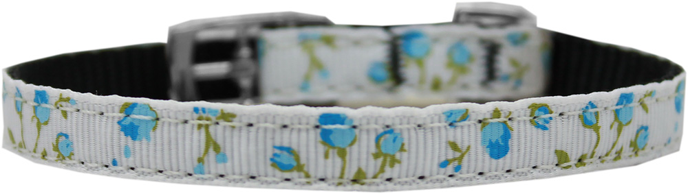 "Roses Nylon Dog Collar with classic buckle 3/8"" Blue Size 10"