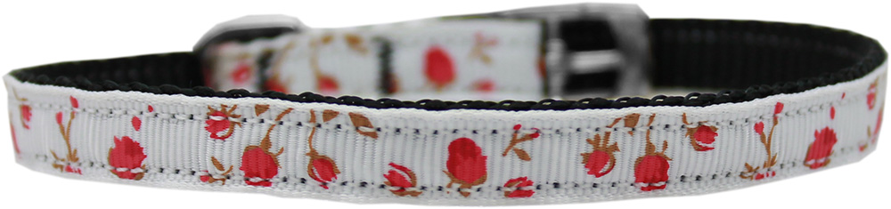 "Roses Nylon Dog Collar with classic buckle 3/8"" Red Size 10"