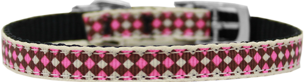 "Pink Checkers Nylon Dog Collar with classic buckle 3/8"" Size 8"