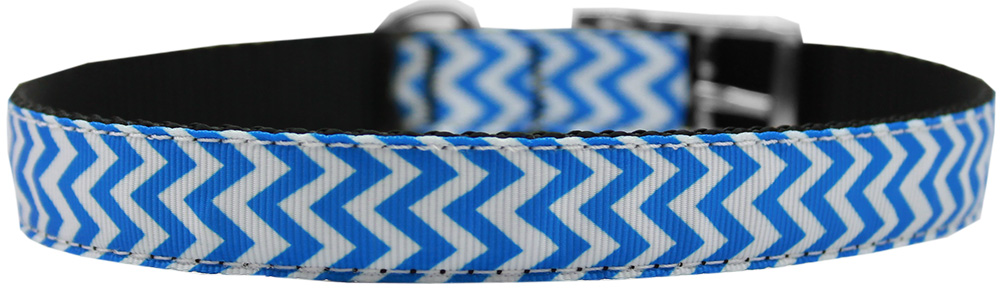 "Chevrons Nylon Dog Collar with classic buckle 3/4"" Blue Size 12"