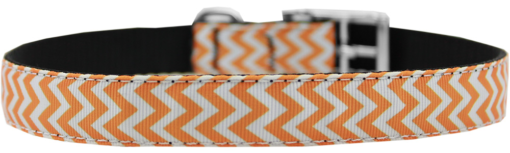 "Chevrons Nylon Dog Collar with classic buckle 3/4"" Orange Size 16"