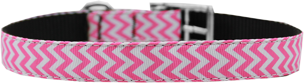 "Chevrons Nylon Dog Collar with classic buckle 3/4"" Pink Size 26"