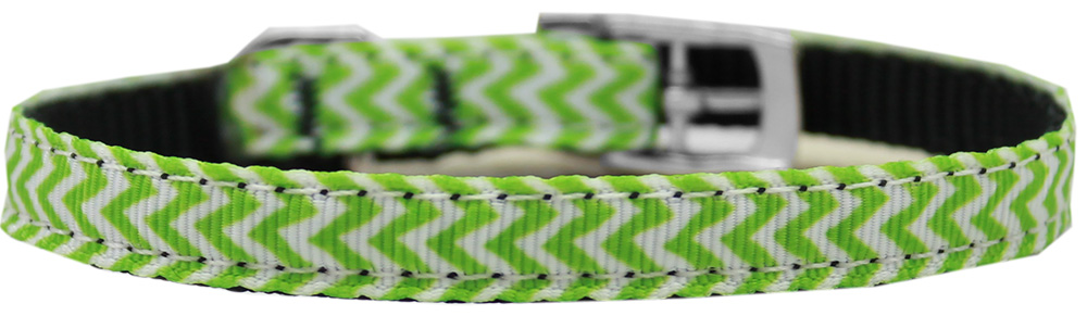 "Chevrons Nylon Dog Collar with classic buckle 3/8"" Lime Green Size 12"