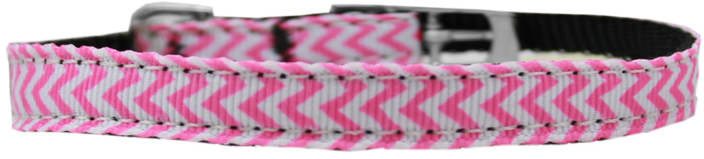 "Chevrons Nylon Dog Collar with classic buckle 3/8"" Pink Size 16"