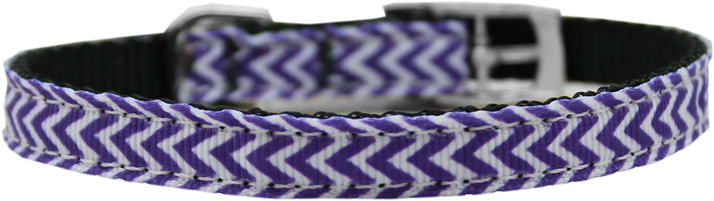 "Chevrons Nylon Dog Collar with classic buckle 3/8"" Purple Size 10"