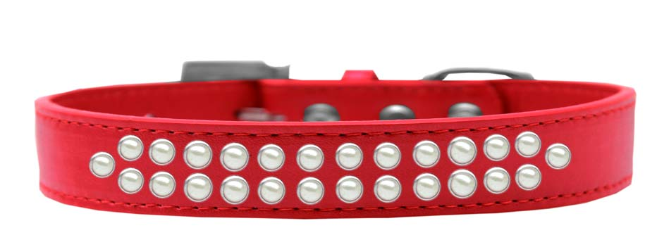Two Row Pearl Size 20 Red Dog Collar