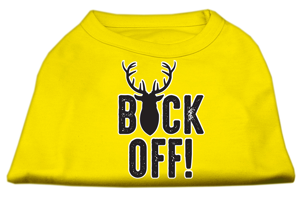 Buck Off Screen Print Dog Shirt Yellow Lg (14)