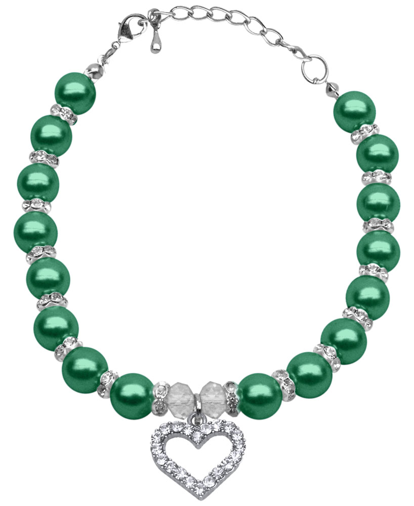 Heart and Pearl Necklace Emerald Green Md (8-10)