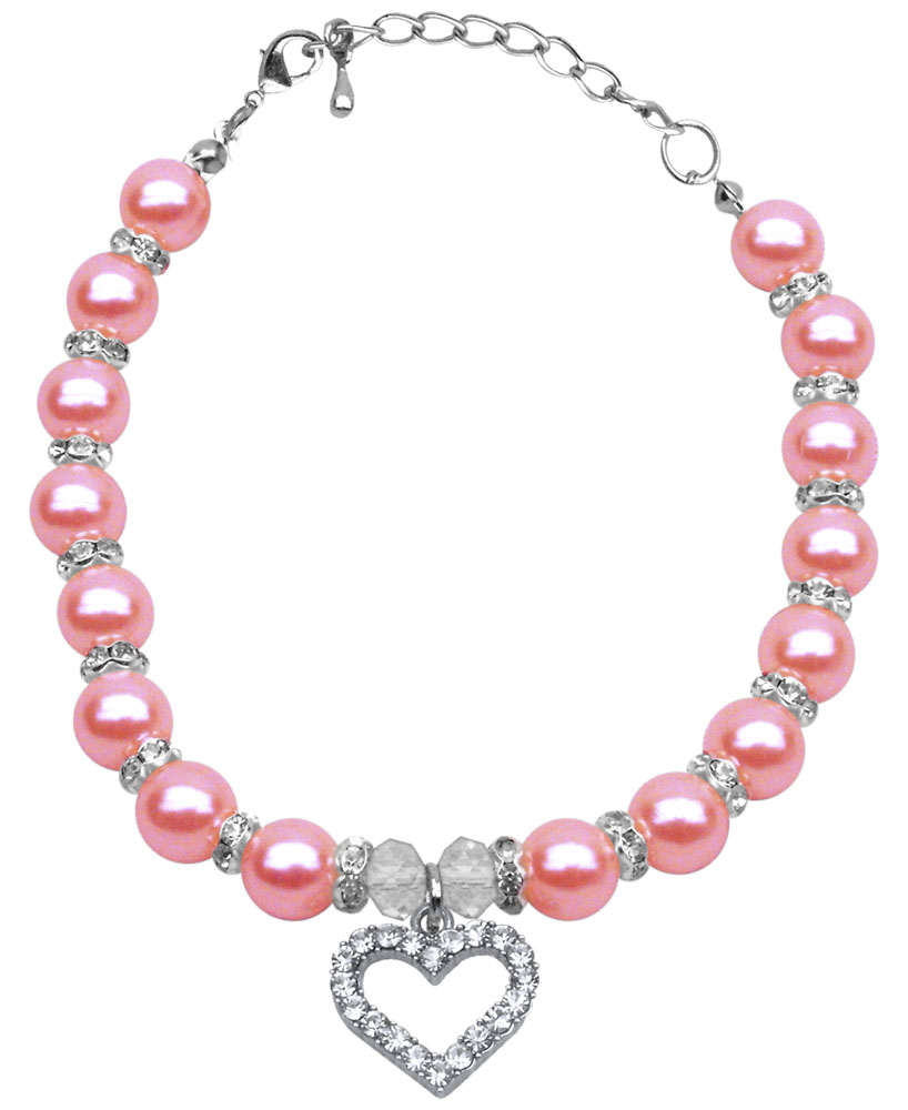 Heart and Pearl Necklace Rose Lg (10-12)