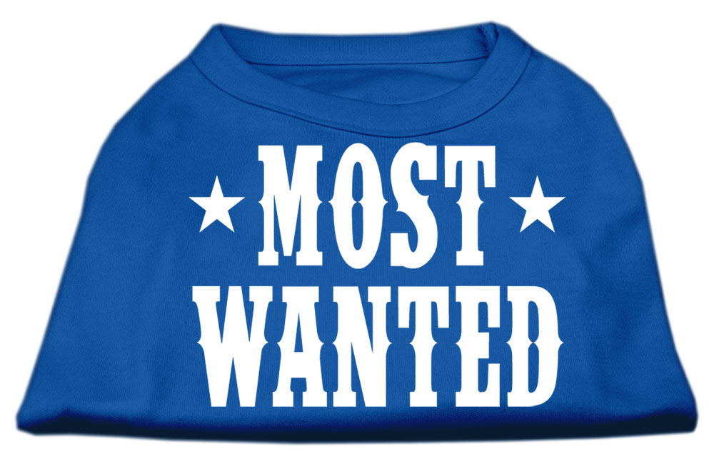 Most Wanted Screen Print Shirt Blue Lg (14)