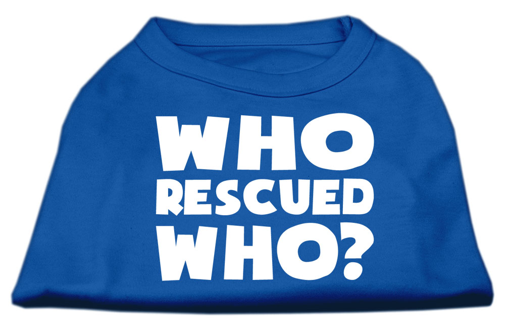 Who Rescued Who Screen Print Shirt Blue XXL