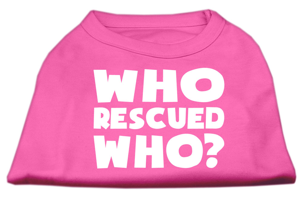 Who Rescued Who Screen Print Shirt Bright Pink XXL