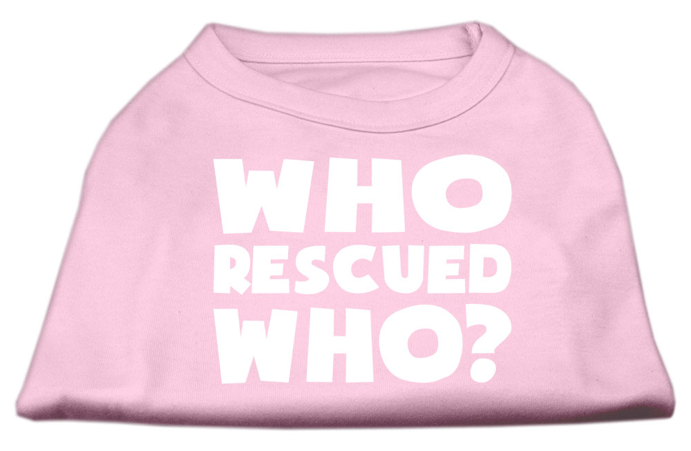 Who Rescued Who Screen Print Shirt Light Pink XS