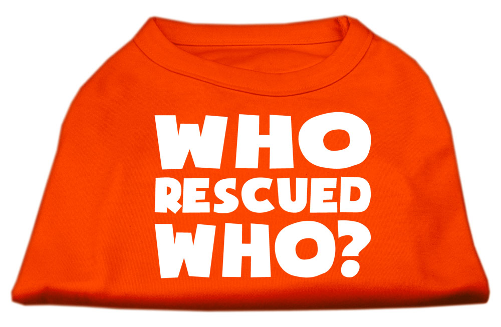 Who Rescued Who Screen Print Shirt Orange XS