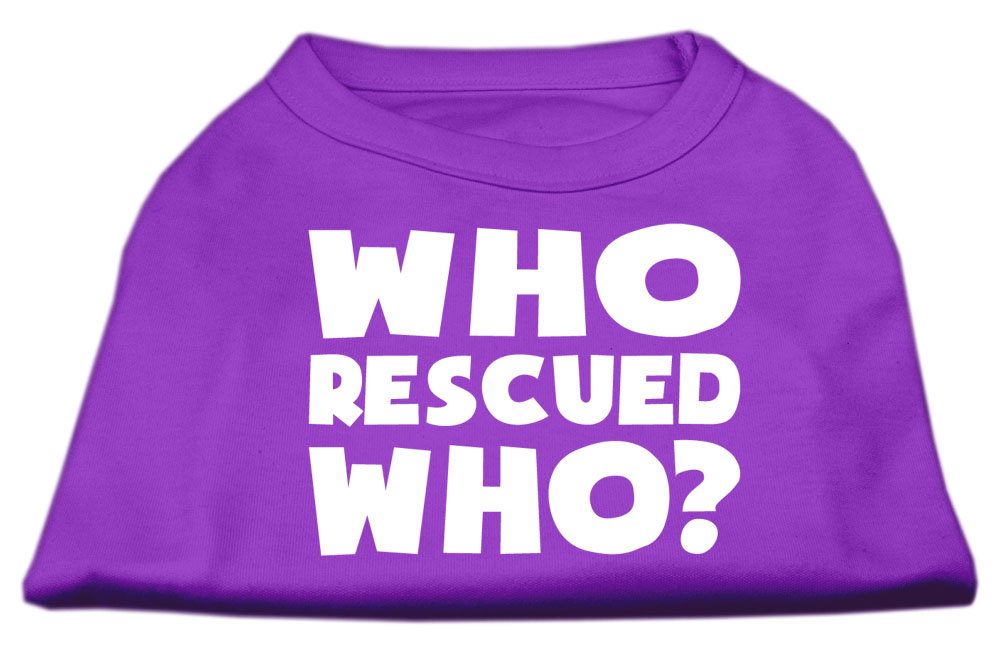 Who Rescued Who Screen Print Shirt Purple XS