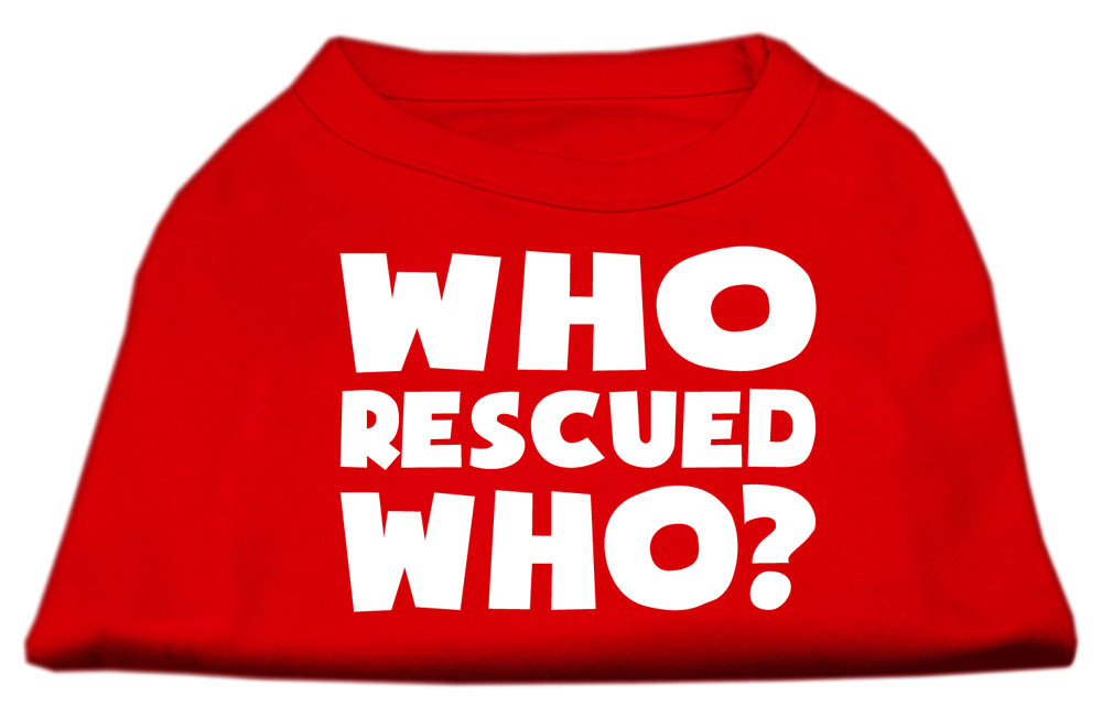 Who Rescued Who Screen Print Shirt Red XS