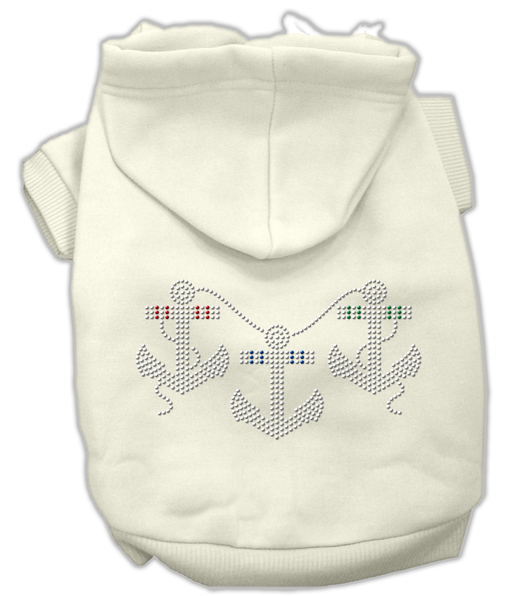 Rhinestone Anchors Hoodies Cream L (14)