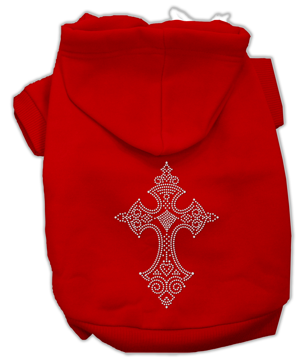 Rhinestone Cross Hoodies Red L (14)
