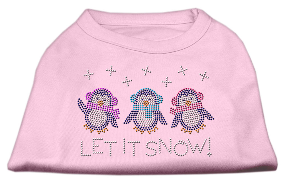 Let It Snow Penguins Rhinestone Shirt Light Pink XL (16)